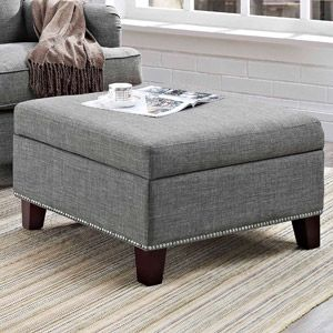 Superb Grayson Linen Square Ottoman With Nailhead Trim Gray Gmtry Best Dining Table And Chair Ideas Images Gmtryco