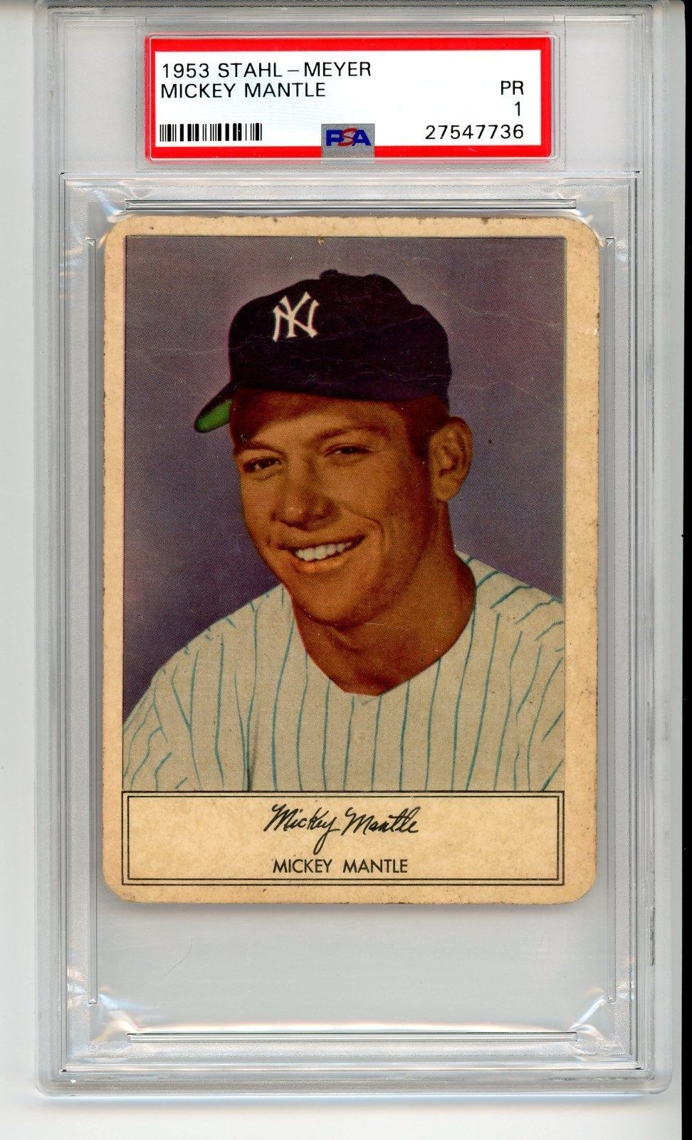 1953 Stahl Meyer Mickey Mantle Psa 1 Very Low Pop Rare Mantle Great Eye Appeal Mickey Mantle Mantle Baseball Wall