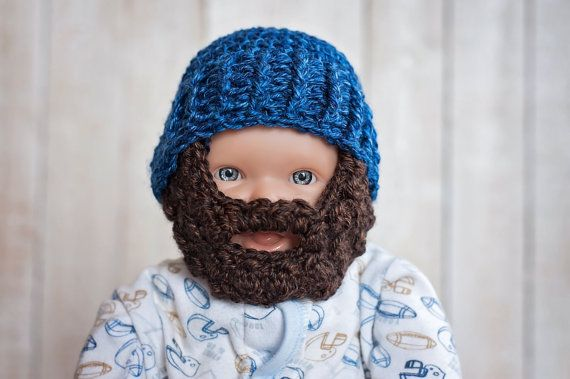 Crochet Beard Hat - Orange Beard - Beanie with Beard - Photography Prop - Baby Boy #crochetedbeards