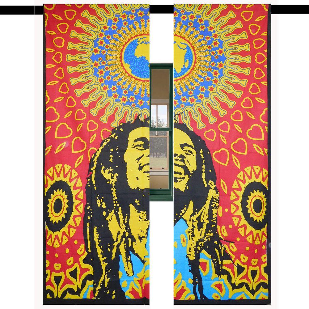 Bob Marley Art Room Door Wall Drapes Window Curtains Decor Mandala