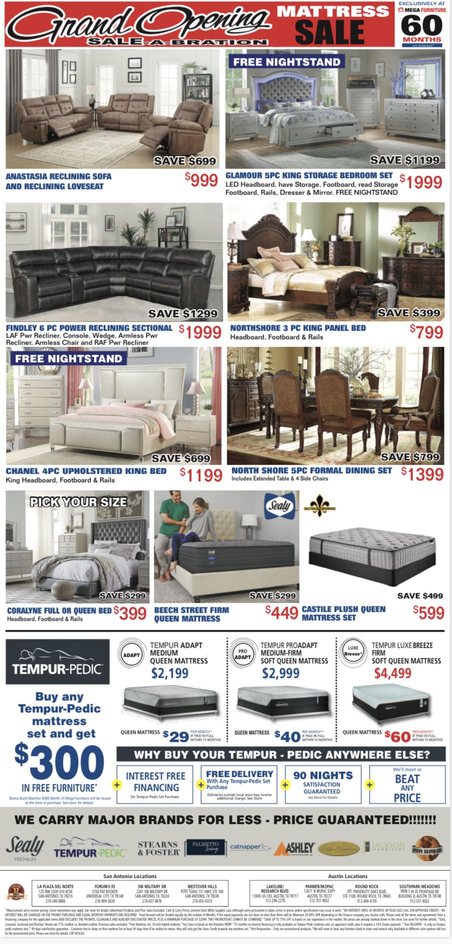 It S Time To Welcome Our Newest Location With A Grand Sale A Bration Save Hundreds On Full Bedroom Sets Mega Furniture Mattress Sales Reclining Sectional