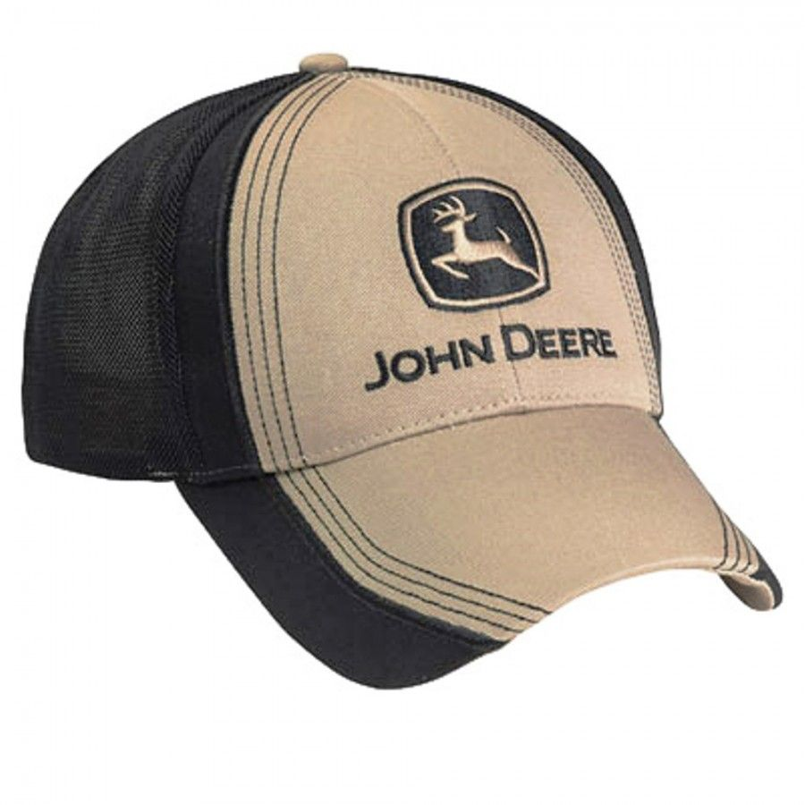 NEW John Deere Brown Sanded Canvas Cap Poly Coated Visor LP67008