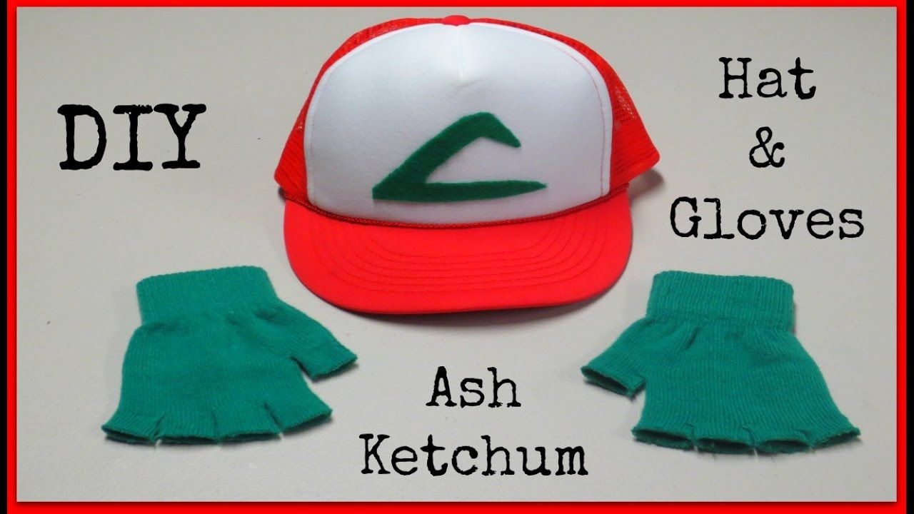 diy ash ketchum hat gloves pokemon halloween costume. Black Bedroom Furniture Sets. Home Design Ideas