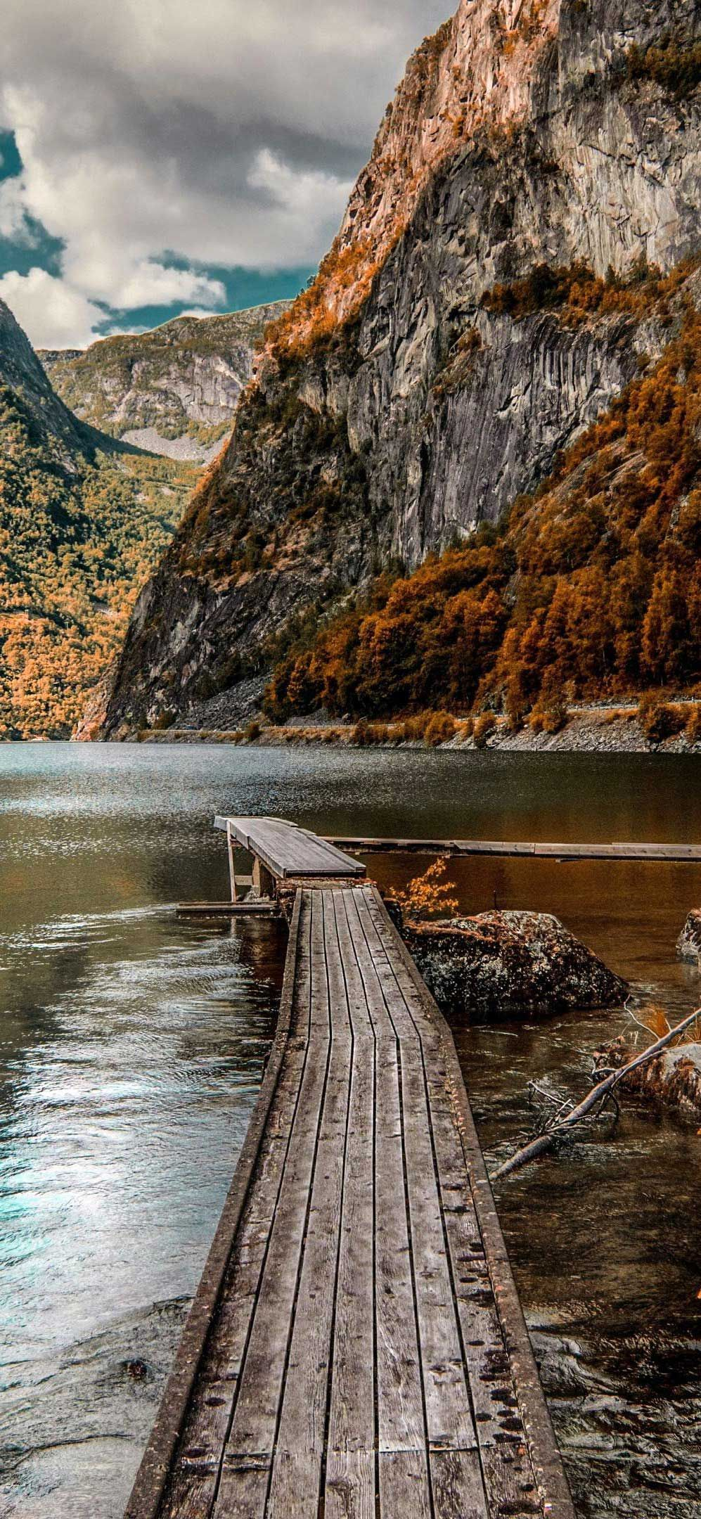 Iphone Pro Wallpaper Mountains wooden dock lake autumn