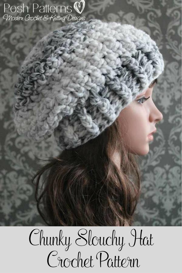 Crochet Pattern Easy Crochet Slouchy Hat Pattern Slouchy Hat