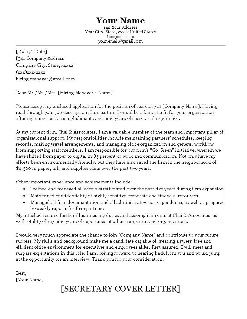 Senior Secretary Cover Letter Sample  Onepage Senior