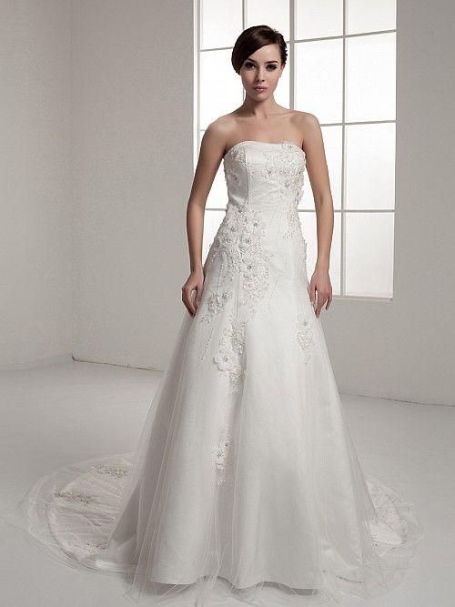 Pernette - Принцесса Атласная свадебном платье с Отделка бисером