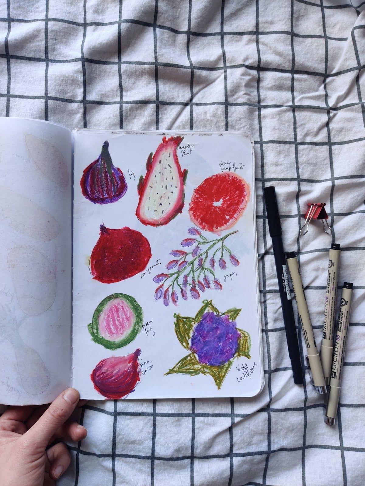 A week of food drawings using oil pastels ~ SKETCHBOOK DIARY #1#diary #drawings #food #oil #pastels #sketchbook #using #week