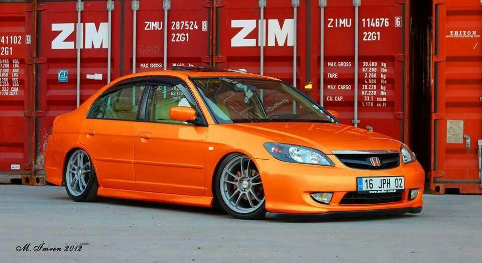 Blazing Orange Honda Civic Sedan Honda Civic Es Honda Civic 2005