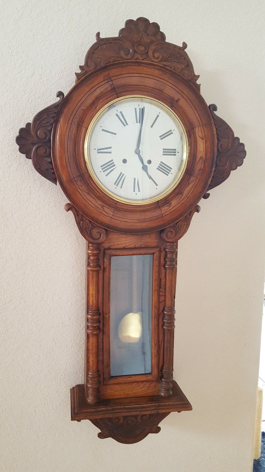 Restored Antique Bankers Regulator VERY LARGE Chiming Pendulum Wall