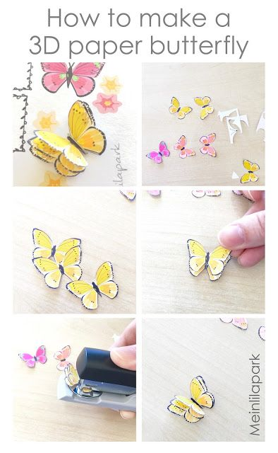 How to make 3d butterfly stickers tutorial free printable template baptême emma pinterest free printable template and butterfly