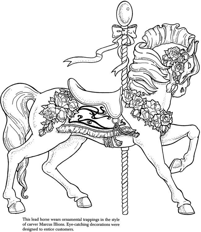 ❤ =^..^= ❤ Carousel Animals Coloring Pages | Carousel animals ...
