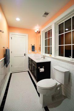 Black White And Peach Bathroom Peach Tile Floor Design Ideas