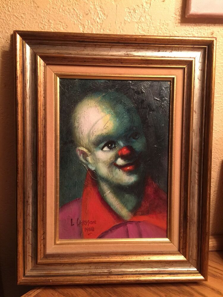 vintage clown painting  Sign L  Larsson  1968 Custom Framed  11x14