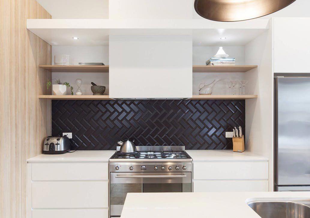 Tired Of White Subway Tile You Ll Love This Moody Backsplash Trend In 2020 Kitchen Splashback Tiles Kitchen Trends Black Backsplash