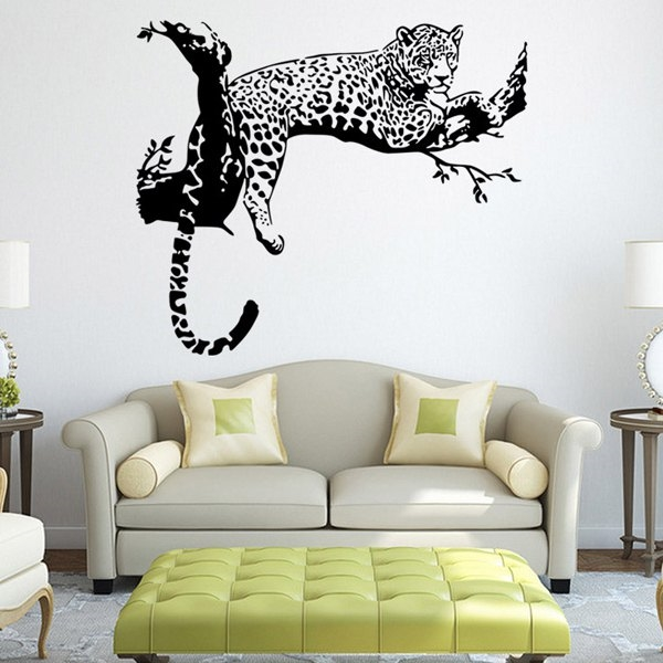 6.66$  Watch now - http://diviv.justgood.pw/go.php?t=179108401 - Fashion White and Black Leopard Pattern Wall Sticker For Bedroom Livingroom Decoration 6.66$