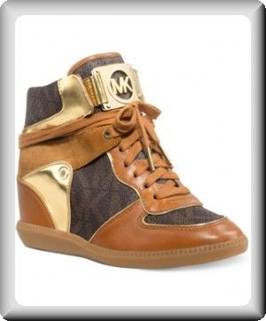 57e9c114d01bc Michael Kors Women s Brown High-Top Athletic Sneaker Heel Wedge Shoes