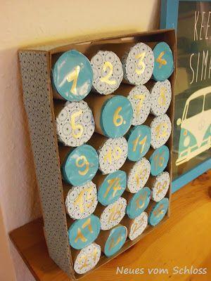adventskalender aus toilettenrollen advent calendar made from toilet paper rolls advent. Black Bedroom Furniture Sets. Home Design Ideas