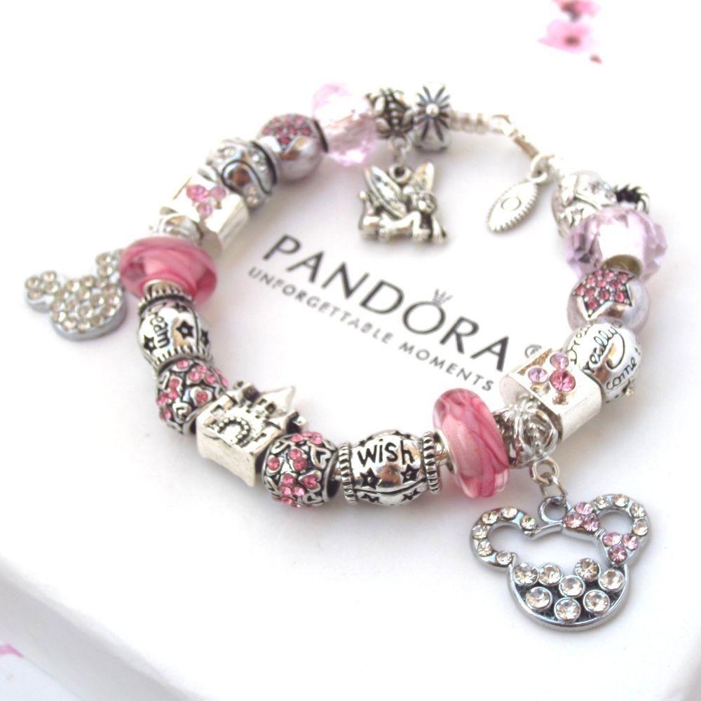 Authentic Pandora Bracelet Pink Love Mickey Mouse Wish ...