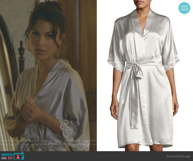 Cristal s silver short robe with lace trim on Dynasty  d0922c8e1
