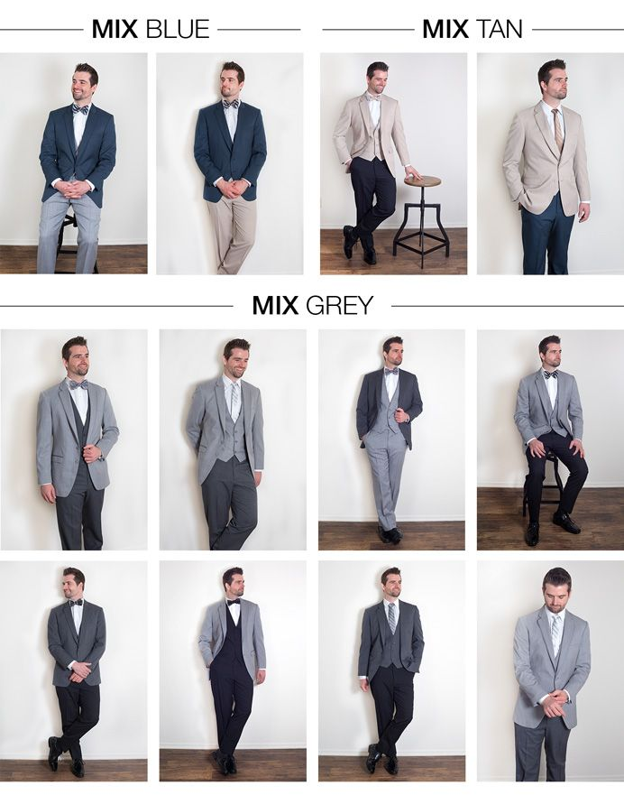 Mix And Match Menswear Suits Blue Coat With Grey Pants