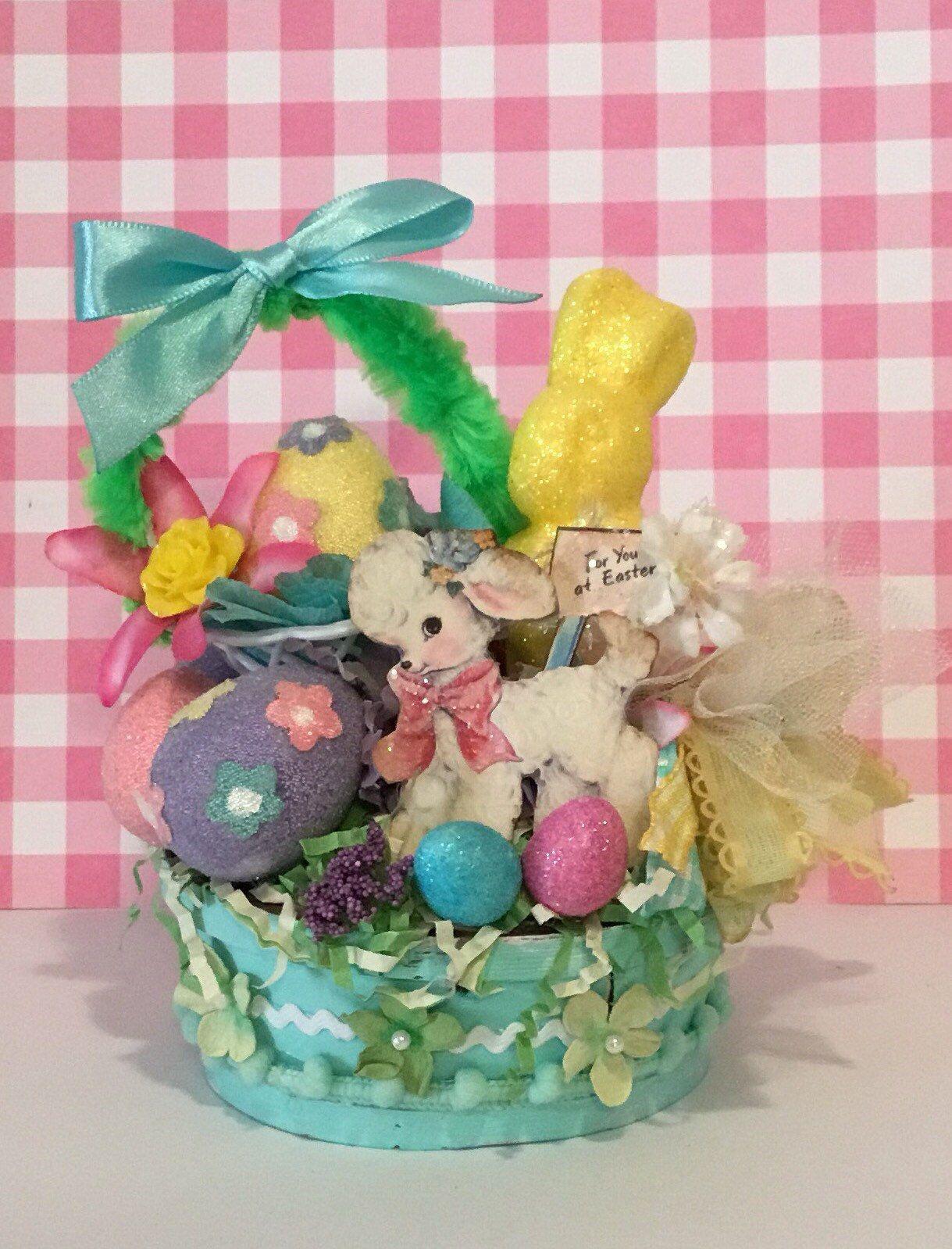 Vintage Easter Decoration Easter Plastic Cross Stitch Egg Candy Easter Egg Hunt Easter Basket Party Decoration Retro Decor Magnets