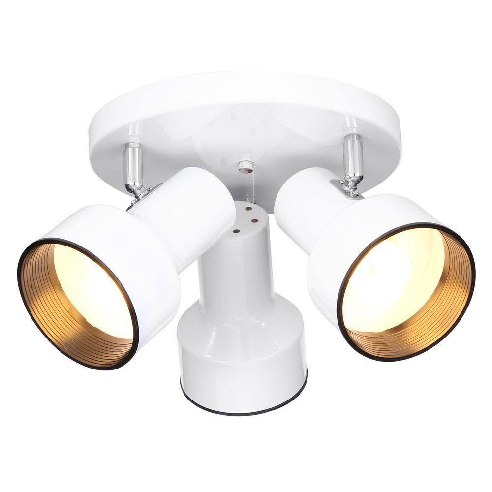 Hampton Bay 3 Light White Ceiling Spotlight Ro101 The Home Depot Ceiling Spotlights Ceiling Lights White Ceiling