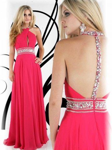 2012 Style A-line Halter  Rhinestone Sleeveless Floor-length Chiffon Prom Dresses / Evening Dresses