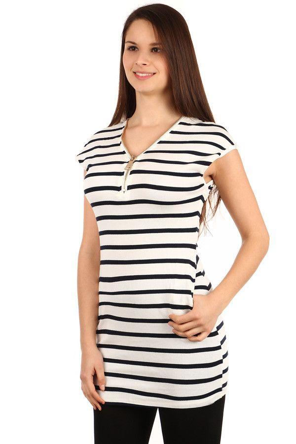 Dámské dlouhé bavlněné pruhované tričko s krátkým rukávem - koupit online  na Glara.cz   96b7456db8