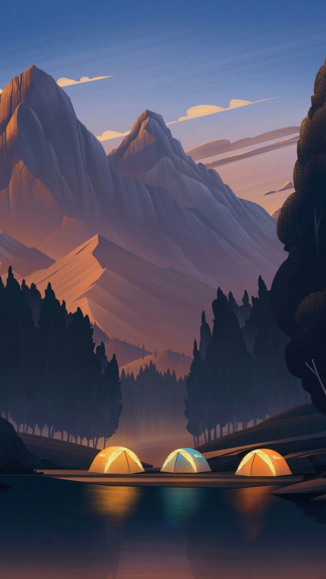 Truly beautiful mountains made in low poly. Fondos de