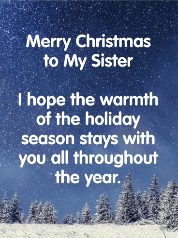 Silent Night Merry Christmas Wishes Card For Sister Birthday Greeting Cards By Davia Merry Christmas Wishes Christmas Card Sayings Merry Christmas Sister