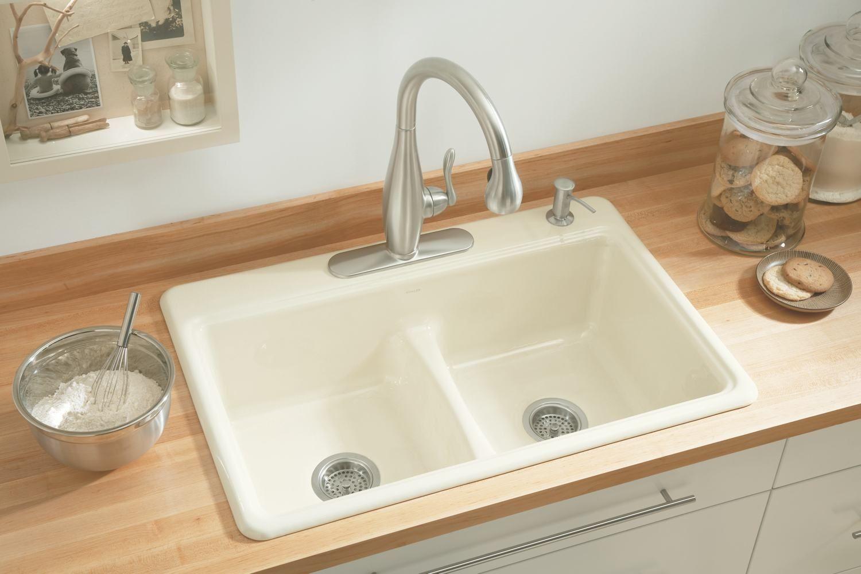 biscuit colored kitchen sinks kohler
