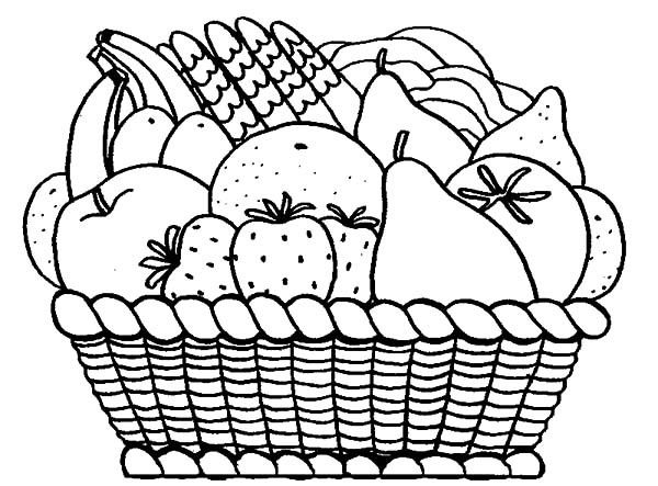 Basket Of Fruits Coloring Pages With Fruit Basket Coloring Pages