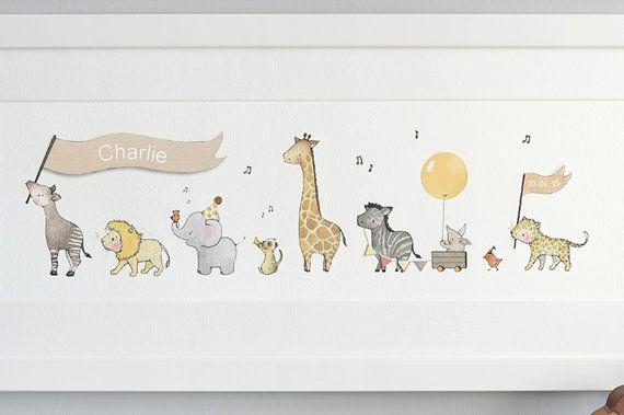 FRAMED Safari Animal Art, Neutral Baby Art, Unisex Nursery Art ...