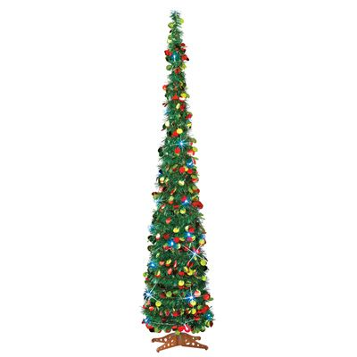 lighted slim pull up christmas tree 65
