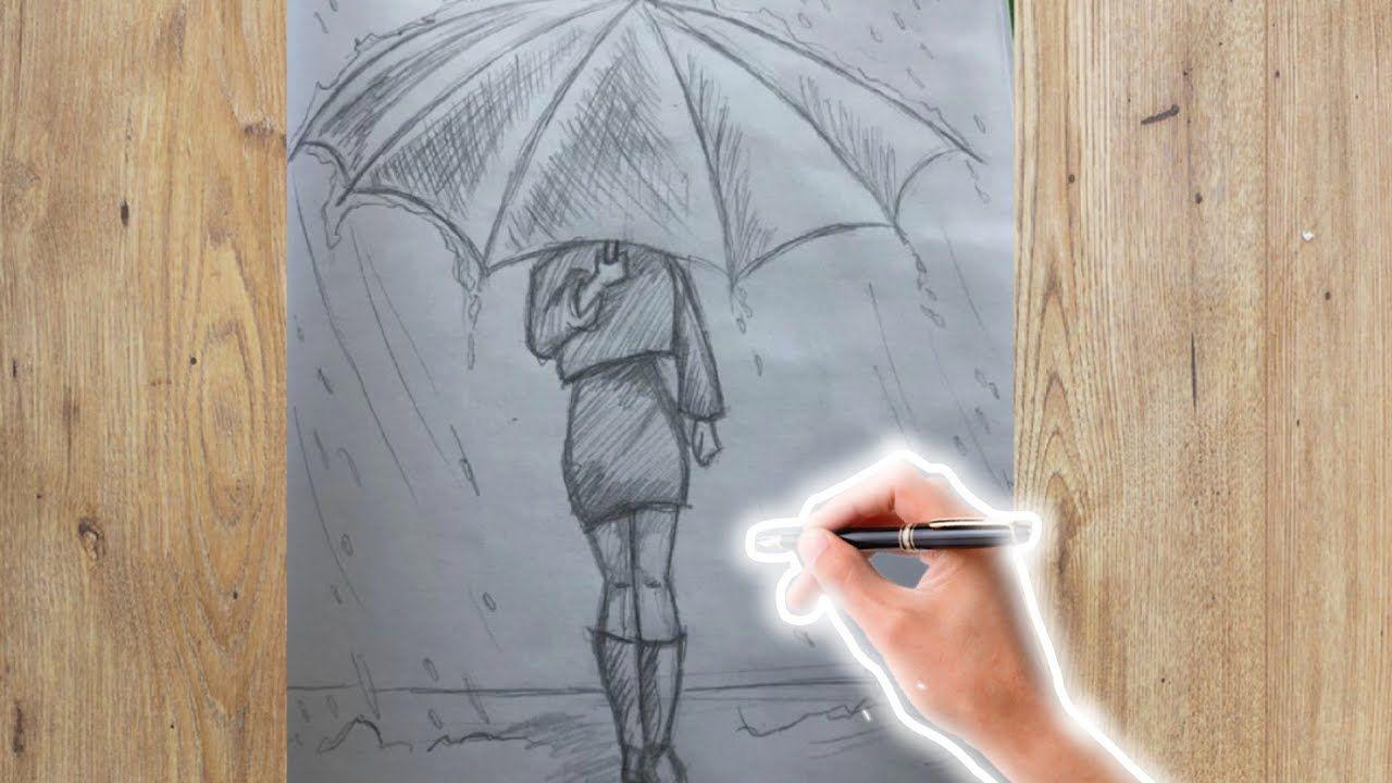 تعلم الرسم بالرصاص للمبتدئين جدا بالخطوات رسم بنت تحمل مظلة تحت المطر رسم سهل جدا Abstract Artwork Artwork Abstract