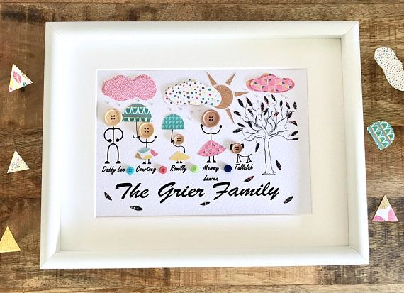 Personalised Family Button Frame Which Is Able To Accommodate 6 People Or Animals The Frame Is A3 In Size 30x40 The Art Gifts For Mum Gifts Button Family