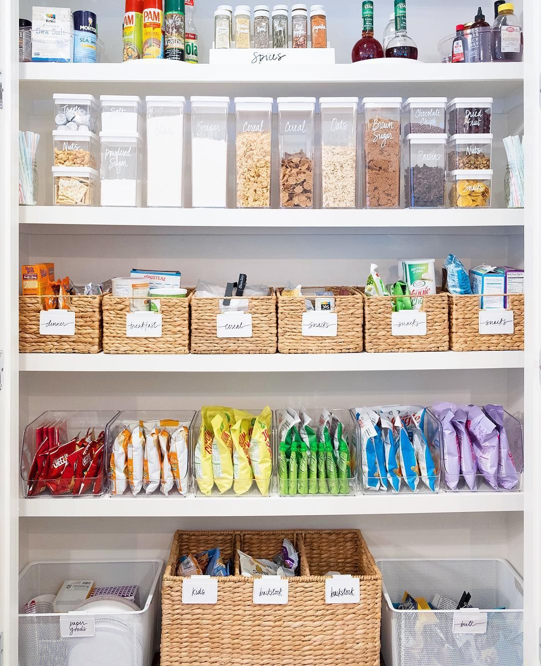 A: Every single pantry needs to have some form of a basket or bin to