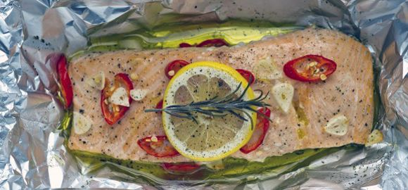 An extremely quick and simple recipe from Fish is the Dish for a beautiful salmon parcel.