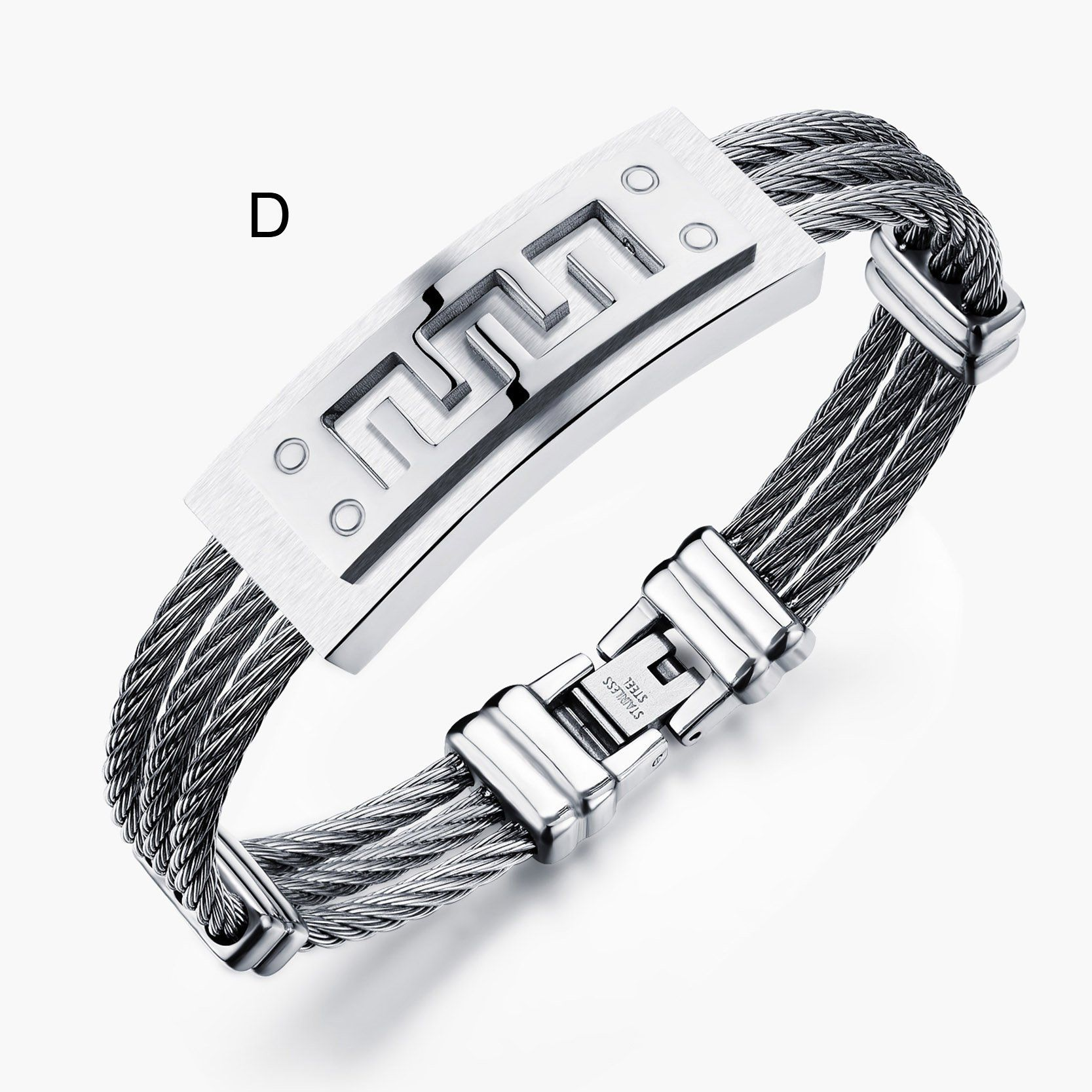 Fashion men bracelet cross stainless steel rows wire chain