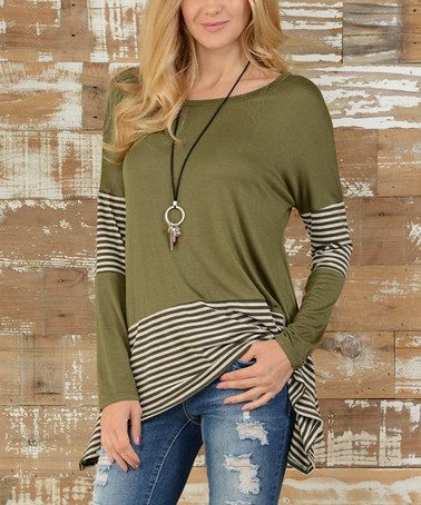 This Olive Stripe Hi-Low Tunic - Plus is perfect! #zulilyfinds