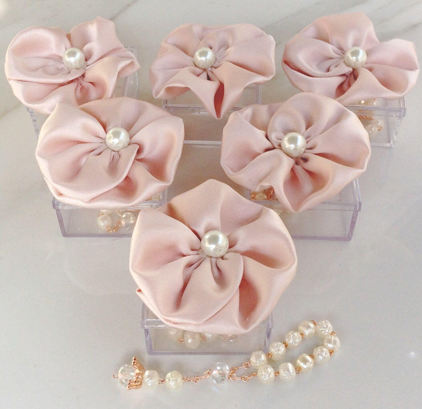 25pcs blush pink favors Wedding baptism Favor Box with Rosaries