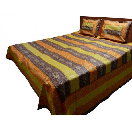 Buy Jaipuri Gold double bedsheet 100% cotton yellow and orange print Online at best price in India. Get more offers, deals, discount on Jaipuri Sheets at Loomkart.