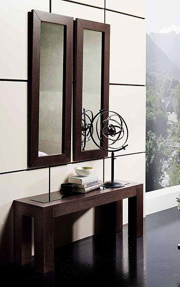 Consola y espejos roble cristal material madera de roble for Espejos para consolas