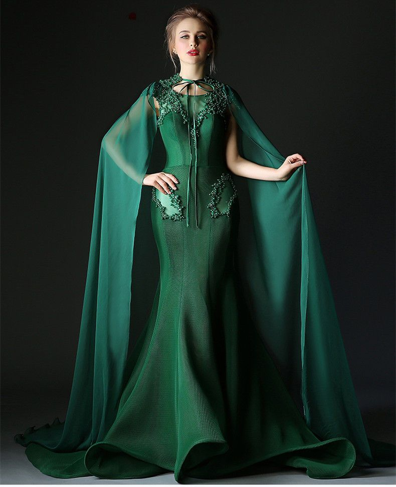Green Pearl Beaded Train Evening Dresses With Cloak Quinceanera Formal Prom  Gown  victor10188  BallGown  Cocktail f77b4bbce40b