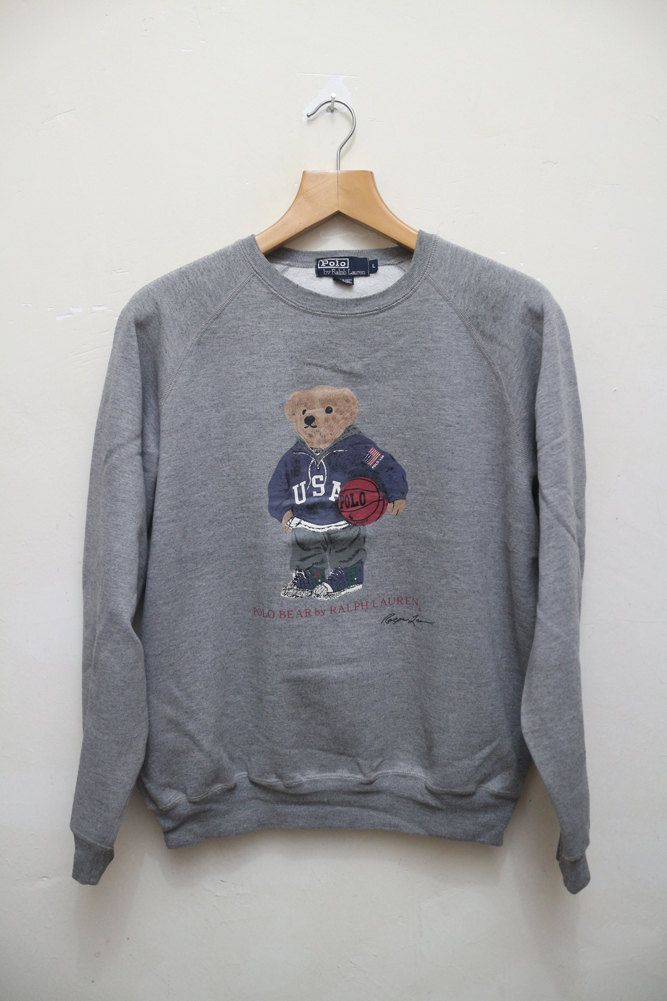 Vintage POLO RALPH Lauren Polo Bear Basketball Pullover Sweater Sweatshirt  Gray…