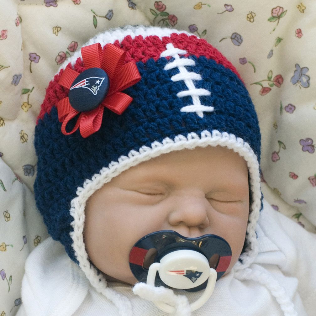 Baby Girl Football Hat & New England Patriots NFL Pacifier ...