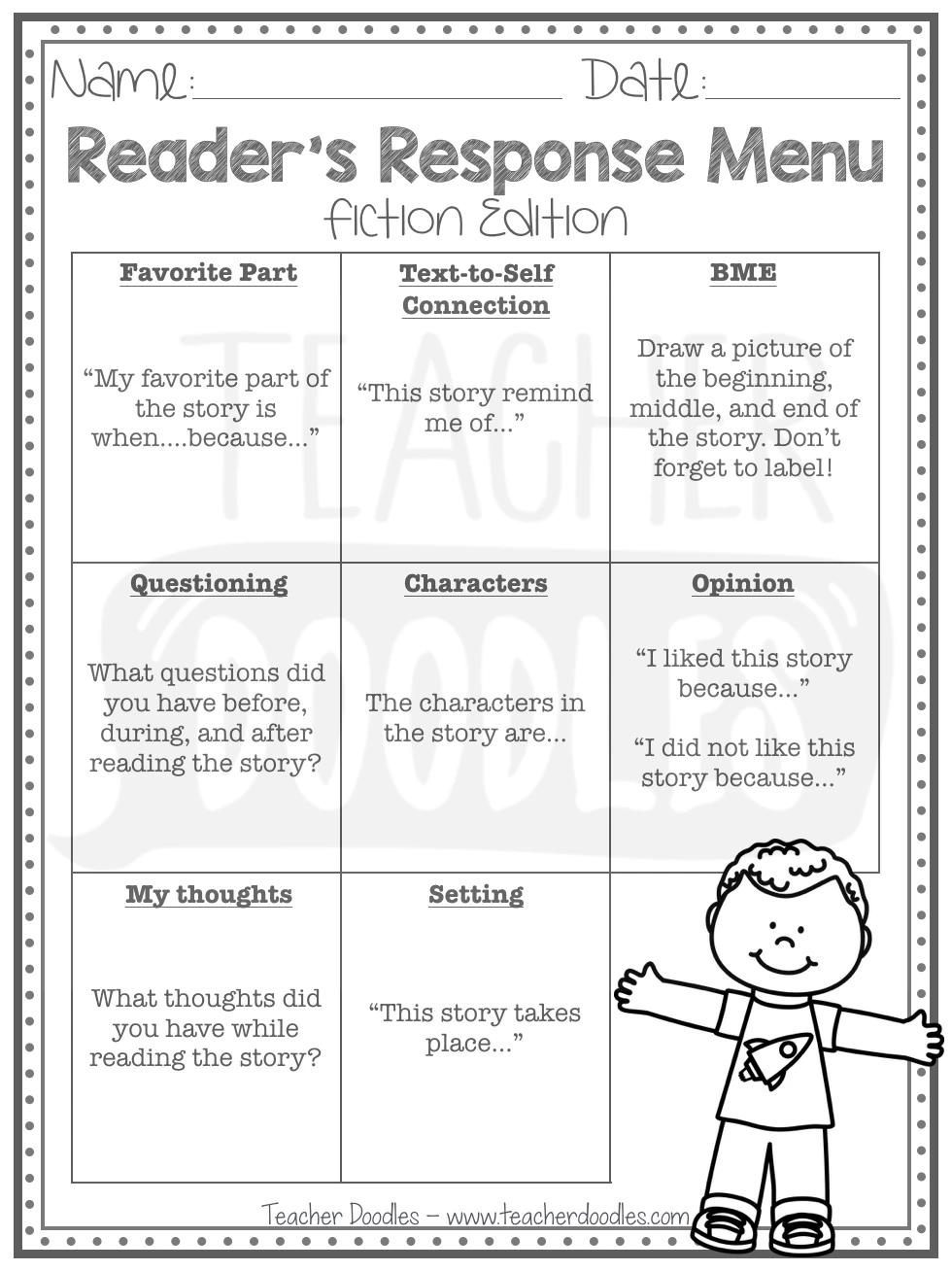 Reader S Response Menu Fiction Edition Reader Response First Grade Reading Writing Response [ 1308 x 980 Pixel ]