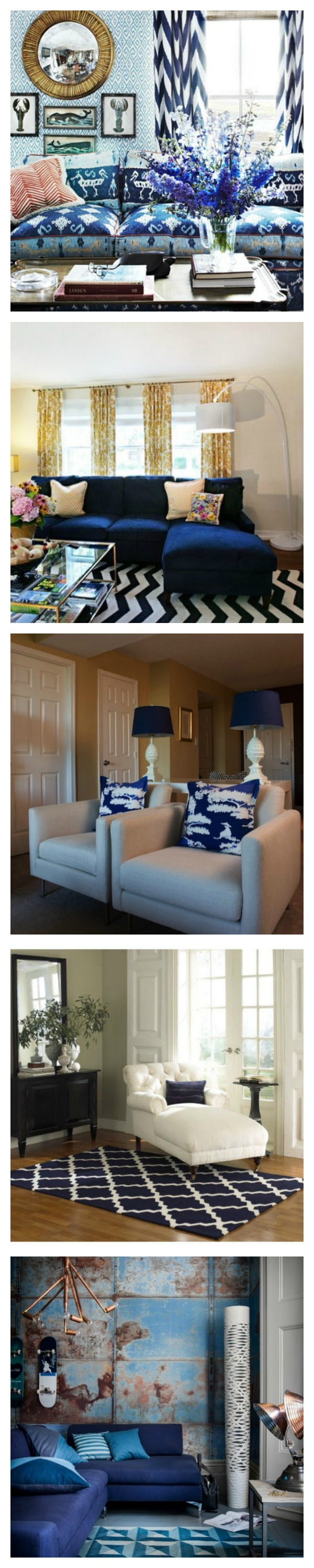 royal/cobalt blue living spaces