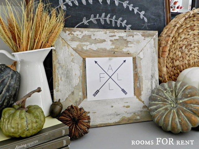Fall Vignette and Compass Arrow Printable - Rooms For Rent blog - halloween decoration rentals